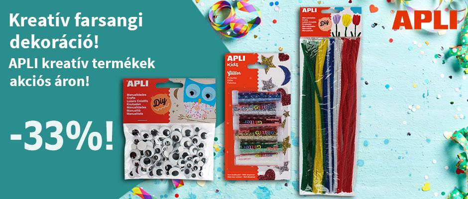 Kreatív farsangi dekoráció! Vásároljon APLI kreatív termékeket 10% kedvezménnyel! Az akció 2021. február 9-étől 23-áig érvényes.